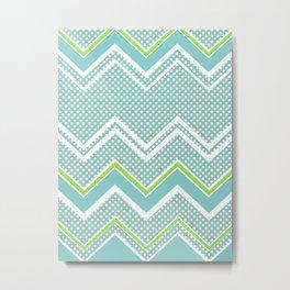 Ric-Rac-Dotty Blue And Lime Metal Print