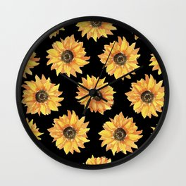 Sunflowers on Black Wall Clock