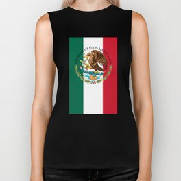 Mexican flag (augmented scale) with Coat of Arms (overlaid) Biker Tank
