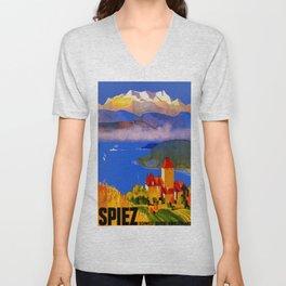 Vintage Spiez Switzerland Travel Poster Unisex V-Neck