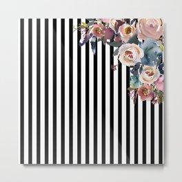 Boho Flowers and Stripes Metal Print