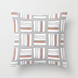 Stripes×Checkered Pattern_Gray&Orange Throw Pillow