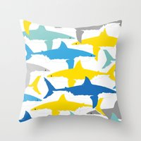 sharks Throw Pillows featuring Sharks  by BRITADESIGNS