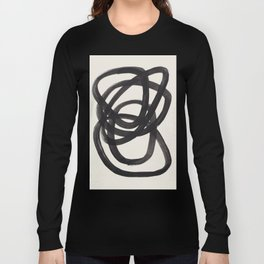 Mid Century Modern Minimalist Abstract Art Brush Strokes Black & White Ink Art Spiral Circles Long Sleeve T-shirt
