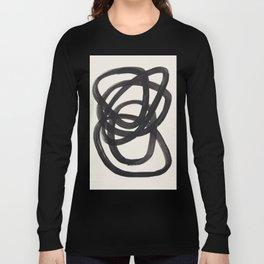 Mid Century Modern Minimalist Abstract Art Brush Strokes Black & White Ink Art Spiral Circles Langarmshirt