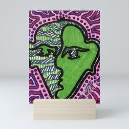 Green Face Hiding Anger Mini Art Print