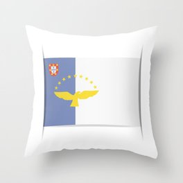 Flag of Azores. The slit in the paper with shadows. Throw Pillow
