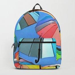 Whimsical Floating Umbrellas Backpack