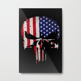 USA flag Skull Metal Print