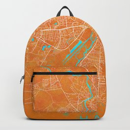 Halle, Germany, Gold, Blue, City, Map Backpack