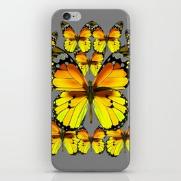 CLUSTER YELLOW-BROWN  BUTTERFLIES GREY  DESIGN iPhone Skin