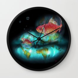 Goldfish Bubbles Wall Clock