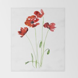 Red Poppies Throw Blanket