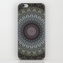 Mandala in grey and brown tones iPhone Skin