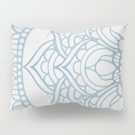 Light Gray Blue Mandala Pillow Sham