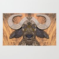 african Area & Throw Rugs featuring African Buffalo by ArtLovePassion