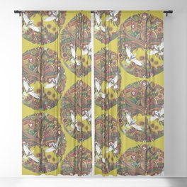 tree of life chartreuse Sheer Curtain