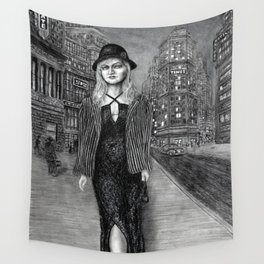 Untitled - charcoal drawing - beauty, woman, figure, cityscape Wall Tapestry