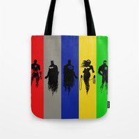 justice league Tote Bags featuring Justice Silhouettes by iankingart