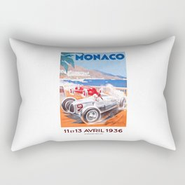 1936 Monaco Grand Prix Race Poster  Rectangular Pillow