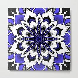 Mandala : Blue Flower Mandala Metal Print