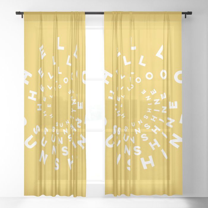 Hello Sunshine #minimal #typography #summervibes Sheer Curtain