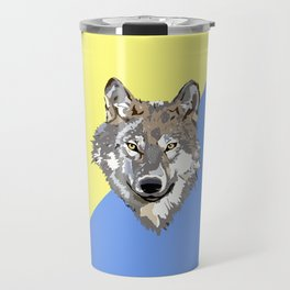Modern yellow blue brown watercolor paint splatters wolf Travel Mug