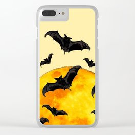 BLACK FLYING BATS FULL MOON ART Clear iPhone Case