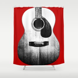 Guitar - Body, Red Background Shower Curtain
