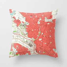 Vintage Map of Dallas Texas (1958) 2 Throw Pillow