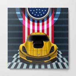 The Yellow King Corvette C7 Metal Print