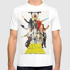 Star War s Vintage Action Figures - First 12 - Square White MEDIUM Mens Fitted Tee