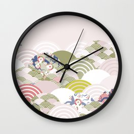 scales simple Nature background with japanese sakura flower, rosy pink Cherry, wave circle pattern Wall Clock