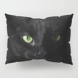 Black cat | Witchy cat | Green eyes | Cat love | Happy halloween Pillow Sham