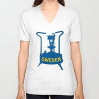 sweden V-neck T-shirts featuring Sweden | Brass Pressure Stove by mailboxdisco