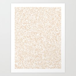 Tiny Spots - White and Pastel Brown Art Print