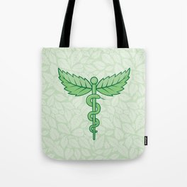 Caduceus with leaves Tote Bag