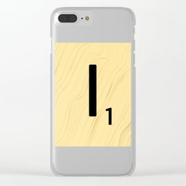 Scrabble I Decor, Scrabble Art, Large Scrabble Tile Initials Clear iPhone Case