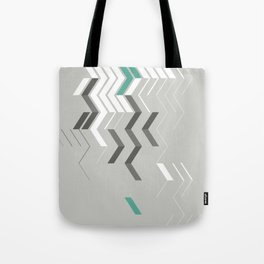 Deconstructed Chevron B – Gray / Teal Abstract Pattern Tote Bag