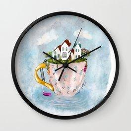 Pink Cup island Wall Clock
