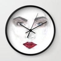 cara delevingne Wall Clocks featuring Cara Delevingne by Stephany Moreno