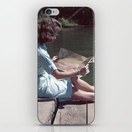Woman Reading By The Lake (Vintage) iPhone Skin