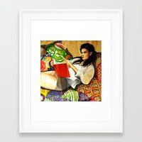 reading Framed Art Prints featuring Reading by Madelyne Joan Templeton