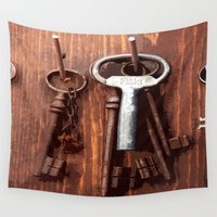 key Wall Tapestries featuring vintage key by gzm_guvenc