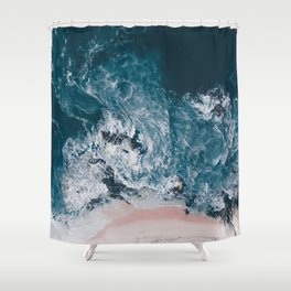 I love the sea - written on the beach Shower Curtain