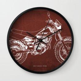 2018 Yamaha TW200 blueprint, gift for men, motorcycle,garage decoration Wall Clock