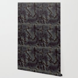 Invisible - black gray gold marble abstract pattern Wallpaper