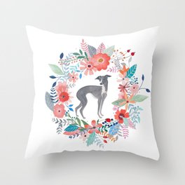 Italian Greyhound And Flowers Throw Pillow