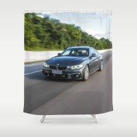 bmw Shower Curtains featuring BMW 435i LIGHTS by Nenhum Destes