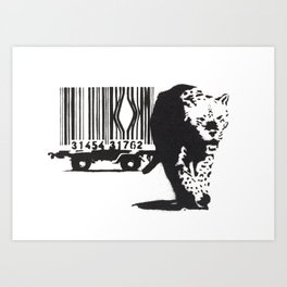Banksy Animal Rights Artwork, Jaguar Tiger Barcode Prints, Posters, Bags, Tshirts, Men, Women, Youth Art Print